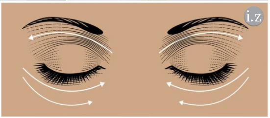 خطوط ماساژ دور چشمها